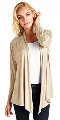 Popana Super-Soft Open Front Drape Cardigan - Made In USA