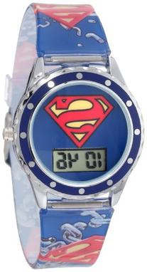 Superman Kids' SUP4021 Printed Superman Logo Analog Strap