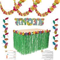Luau Party Supplies Kit: Lei Garland , Grass Table Skirt,