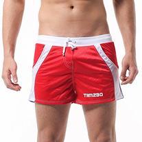 DESMIIT Men's Mesh Short With Pocket Red US Medium Asia XL