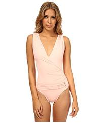 Vince Camuto Women's Surplice-Neck Ruched Swimsuit 10 Cameo