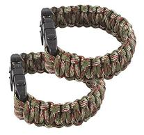Attmu 2 Pack Outdoor Survival Paracord Bracelet with Fire