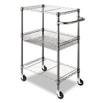 Alera SW342416BA Three-Tier Wire Rolling Cart, 16w x 26d x