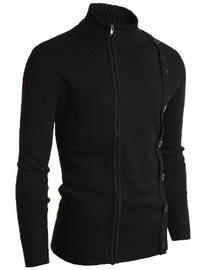 Doublju Mens Sweater Asymmetry Zip Up Cardigan BLACK