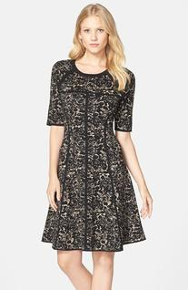 Women's Taylor Dresses Sweater Knit Fit & Flare Dress, Size