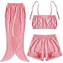 Girls 3PCs Swimmable Mermaid Tail Princess Bikini Bathing
