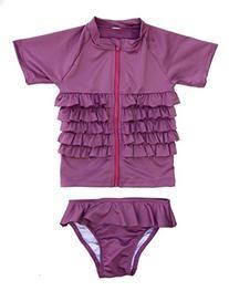 "SwimZip Little Girl Rash Guard Swimwear Set ""Ruffle Me"
