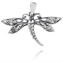 Swirl Filigree Wings Dragonfly Sterling Silver Pendant