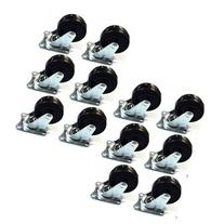 """12 Pack 2"""" Swivel Caster Wheels Rubber Base with Top Plate"""