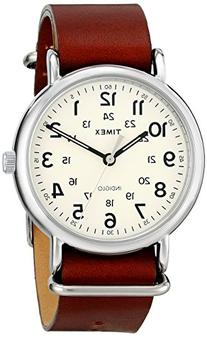 Timex Unisex T2P495 Weekender Oversize Brown Leather Slip-