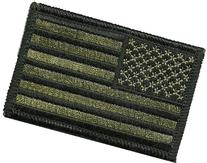 """Tactical Reverse USA Flag Patch - Olive Drab 2""""x3"""" Hook and"""