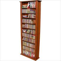 "Venture Horizon 76"" Tall CD DVD Wall Media Storage Rack-Oak"