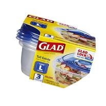 Glad Tall Entree 42 oz Containers with Lids 3 ct