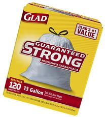 Glad Tall Kitchen Drawstring Trash Bags, 13 Gallon, 120