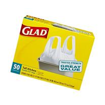 Glad Tall Handle-Tie Kitchen Trash Bags - 13 Gallon - 50