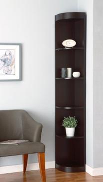 ioHOMES Tango 5-Shelves Corner Display Stand, Cappuccino