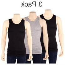 3 Mens Color Tank Top 100% Cotton A-Shirt Wife Beater Ribbed