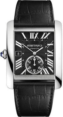Cartier Tank MC Automatic Black Dial Black Leather Mens