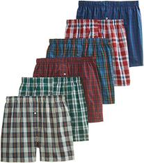 BVD Men's 6 Pack Tartan Boxer, Multi, Medium