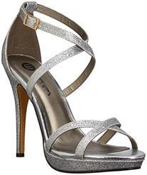 Michael Antonio Women's Tarten Glit Dress Sandal, Silver, 8