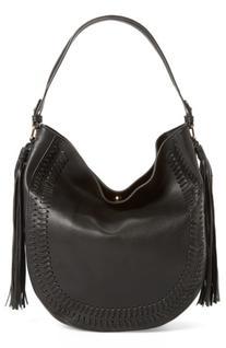 Phase 3 Tassel Faux Leather Hobo Bag - Black