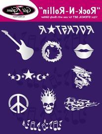 Tattoo Stencil Set for Glitter Tattoos: Rock N Rollin