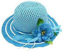 Enimay Kid's Girl's Colored Tea Party Straw Hat Large Flower