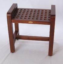 "Contemporary Teak Shower Stool- 20""- Espalier Lattice Grate"