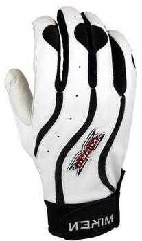 Miken Team II Batting Gloves Pair - White/Black - XX-Large