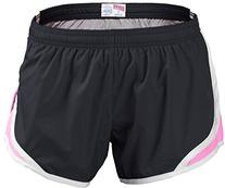 Soffe Juniors Team Shorty Short, Black/Soft Pink, X-Large
