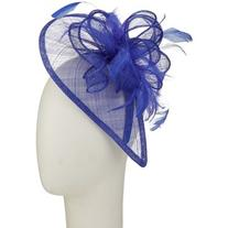 John Lewis Teardrop and Feathers Fascinator , Dazzling Blue