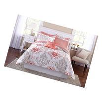 Teen Girls Pink Coral Damask 6 Piece Comforter Set, TWIN /