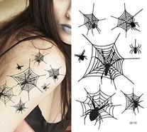 Supperb Temporary Tattoos - Spiders and Spider Net Halloween