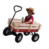Giantex All Terrain Cargo Wagon Wood Railing Kids Children