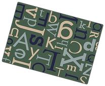 Text Teal Kids Area Rug 6'x9