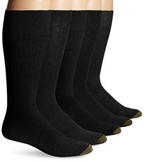 Gold Toe Men's Texture Assorted Crew 5 Pack, Black/Charcoal