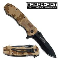 TAC Force TF-800DM Spring Assist Folding Knife, Black Half-