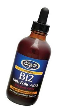 Liquid Vitamin B12 with Folic Acid Raspberry Flavor,