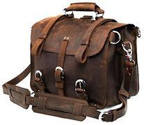 Polare Men's Full Grain Leather 16'' Briefcase Shoulder