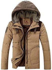 J-SUN-7 Men's Thicken Down Winter Coats Trench Jacket Hooded
