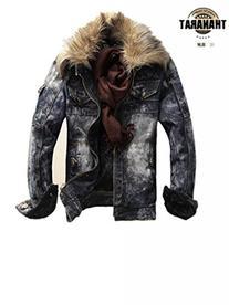 MINID men's thickening fashion fur collar denim jacket -