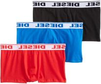 Diesel Men's Three-Pack Shawn Boxer Brief, Black/Red/Royal