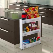 Three Tier Slim Slide Out Pantry on Rollers - Only 5 inches