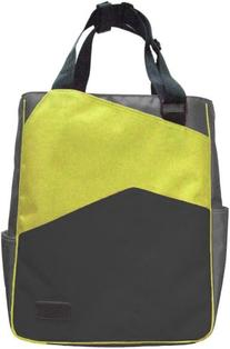 Maggie Mather Three Tone Zippered Tote Bag-Lime/Pewter/Black