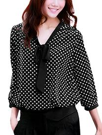 Allegra K Women Tie-Bow Neck All Over Dots 3/4 Sleeve NEW