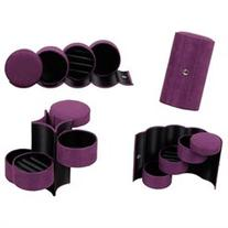Bundle Monster 3 Tier Mini Velvet Travel Roll Up Jewelry Box