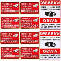 VideoSecu 10 Pack of Security Warning Signs Stickers Decals
