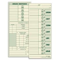 """TOPS Time Cards, Weekly, 2-Sided, 3-1/2"""" x 8-1/2"""", Green"""