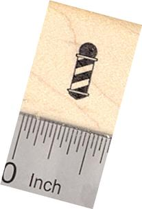 Tiny Barber Pole Rubber Stamp