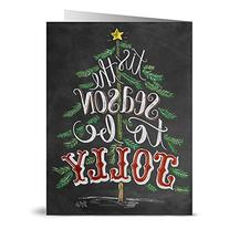 Tis the Season to be Jolly - 36 Chalkboard Note Cards -